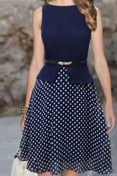 Polka Dot Print Sleeveless Round Collar Belt Design Women's DressVintage Dresses | RoseGal.com