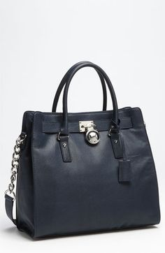MICHAEL Michael Kors 'Hamilton Silvertone Chain - Large' Vertical Tote available at Nordstrom