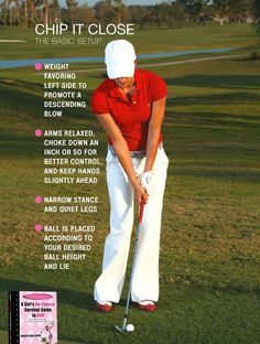 Your cheat sheet to great a set-up for the basic chip. More #golftips at #lorisgolfshoppe