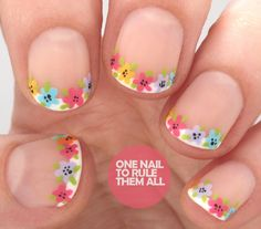 "onenailtorulethemall: ""Revamped French Manicure with Florals """
