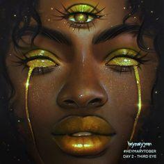 Black Art Painting, Eye Painting, Black Artwork, Black Love Art, Black Girl Art, Chakra Art, Black Art Pictures, Goddess Art, Digital Art Girl