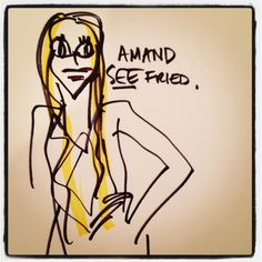 #AmandaSeyfried #GoldenGlobe quick sketch by me, Paula Mangin, available at @GARDE