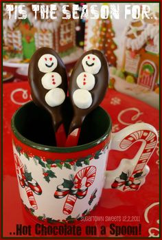Hot Chocolate on a Spoon—irresistible in winter. (@ Sugartown Sweets) so easy to make with a chocolate dipped spoon and marshmallows.  add faces with food grade pins.