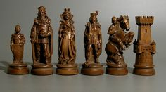 Chess set ca. second half of the 20th century. From Deutschland , Germany.  Made of wood in a medieval style .