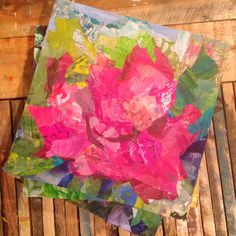 Flowers and the love of paper make a unique finished piece. Artist, Katherine Horst. #flowers #foneart #homedecor #smallartwork #collage #paper #paint