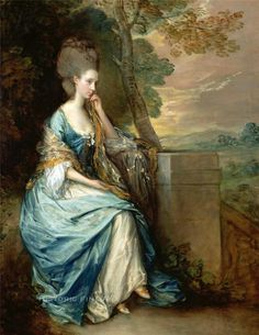 Example of an indigo-dyed silk gown shown in this Thomas Gainsborough oil portrait of a contemporary of Eliza Lucas Pinckney, ca. 1750's. While at least two or three portraits are known to have been painted and drawn of Eliza during her life-time, they have since disappeared, probably when her homes in South Carolina were looted by the British during the Revolutionary War.