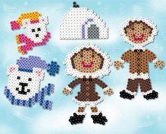 Hiver : boules de neiges et manteau blanc en perles à repasser