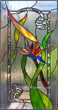 Scalzo Bird of Paradise - custom stained glass by ©Rick Streitfeld www.artwindows.com/1Photos/5TouchColorWeb/pages/5461smScalzoLeft4598.htm