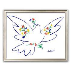 Art.com Dove of Peace Framed Art Print by Pablo Picasso, White