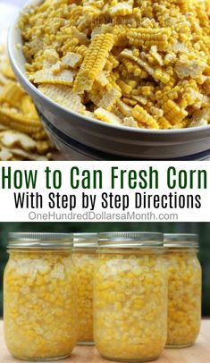 If you are running out of freezer space or just want an alternative to freezer corn, canning corn is Pressure Canning Recipes, Home Canning Recipes, Canning Tips, Cooking Recipes, Pressure Cooking, Easy Canning, Canning Corn, Canning Pickles, Canning Potatoes