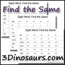 Sight Word Find the Same printable