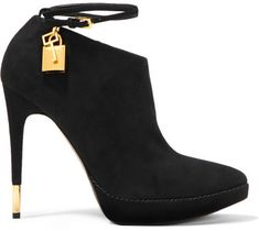 0cb625f06735 TOM FORD - Suede Ankle Boots - Black Low Heel Ankle Boots