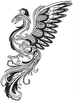 Phoenix Painting, Phoenix Drawing, Dark Creatures, Mythical Creatures, Cross Stitch Embroidery, Machine Embroidery, Phoenix Images, Phoenix Design, Printable Adult Coloring Pages