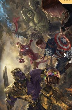 Avengers End Game art by The Knott Ultron Marvel, Marvel Avengers, Thanos Marvel, Marvel Dc Comics, Marvel Comics Wallpaper, Odin Marvel, Comics Spiderman, Marvel Comic Universe, Avengers Wallpaper