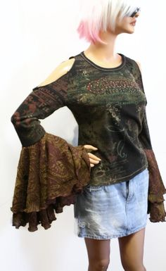 Upcycled Hippie Clothes OOAK Womens Top Boho Gypsy by Sweetbriers, $35.00