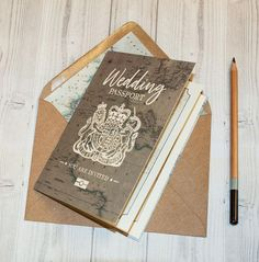 Wedding Passport Travel wedding invitation Vintage map