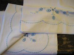 Antigüedades: Hermosas sabanas bordadas a mano - Foto 2 - 40599971