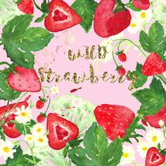 Wild strawberry watercolor clip art by LABFcreations on @creativemarket