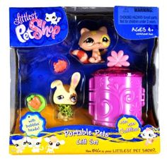 """Amazon.com: Hasbro Year 2007 Littlest Pet Shop """"Cuddliest"""" Series Portable Pets Bobble Head Figure Box Gift Set - Brown Raccoon (#583) and Yellow Bunny Rabbit (#582) Plus Flower Collar, Bowl with """"Carrots"""" and Cozy Carrier (65134): Toys & Games"""