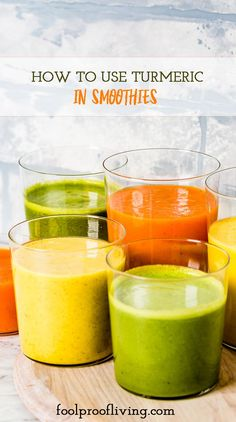 How To Use Turmeric In Smoothies & Vegan Turmeric Smoothie Recipes Turmeric Spice, Turmeric Drink, Turmeric Smoothie, Ginger Smoothie, Fresh Turmeric, Pineapple Kale Smoothie, Kale Smoothie Recipes, Vegan Smoothies, Cooking Recipes