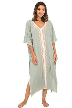 78c28dd46b3 Naturana Womens Beach Cover up Maxi Embroidered Dress