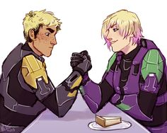 South and Wash arm wrestling over the last piece of cheesecake on the Mother of Invention (Art by electricgale on Tumblr)