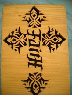 Faith Hope Ambigram Wooden Cross Plaque by mgmwoodworks on Etsy, $19.50