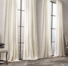 Belgian Linen Drapery Window Dressings, Silk Curtains, Cafe Curtains, Drop  Cloth Curtains,