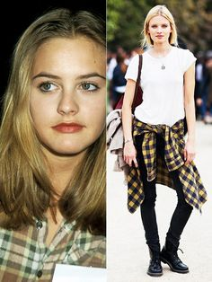 """As we all know, fashion is cyclical. Many of the fashion trends seen today are inspired from the Flannels and combat boots are definitely one of the most popular. This particular outfit is inspired from the movie, """"Clueless. 1990s Fashion Trends, 90s Fashion Grunge, Spring Fashion Trends, 2000s Fashion, Fashion Brands, Fashion Online, Fashion Websites, Fashion 2018, 50 Fashion"""