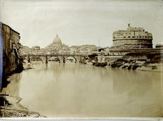 Castel S.Angelo e Tevere 1870 (ca) Albumen print Rome, Louvre, Skyline, Building, Travel, Viajes, Buildings, Destinations, Traveling