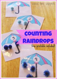 Counting Raindrops Math Activiity: Work on 1:1 Correspondence and Counting 1-10 with this free printable Weather Activities Preschool, Preschool Themes, Preschool Lessons, Spring Activities, Classroom Activities, Number Activities, Counting Activities, Preschool Math, Science Classroom