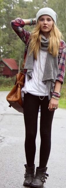 This is so my look, grunge is just my thing! Love the black boots with leggings and the plaid over white, I do that all the time! Beanies and oversized purses are my weak spot too