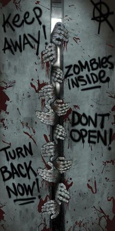 ZOMBIE DOOR COVER BREAKOUT The perfect accessory for your haunted house or home display. 60 by 30 door cover with a look as if a bunch of zombies were trying to oen it wide enough to get in. Also has various graffitit-like sa Halloween Zombie, Halloween 2018, Zombie Halloween Decorations, Soirée Halloween, Halloween Haunted Houses, Outdoor Halloween, Holidays Halloween, Halloween Quotes, Holloween Door Ideas