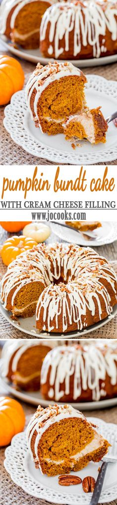 Pumpkin Bundt Cake with Cream Cheese Filling - a delicious bundt cake that tastes like pumpkin pie, with a lovely cream cheese filling then drizzled with a nummy cream cheese icing!