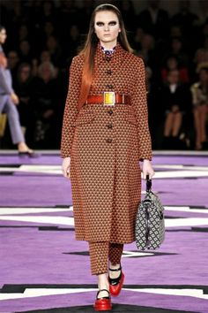 Prada, presented its fall 2012 collection on Thursday. Miuccia Prada placed focused on modified pantsuits, tailored coats and graphic prints for the new season.