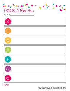 Organizational Printables: Meal Plan & Grocery List   bydawnnicole.com