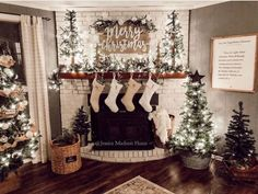 Christmas mantle G O A L S! 😍🎄 We know you guys love to deck out your mantle in the best holiday decor! We are loving silver and neutral themed mantle.   We saw that neutrals were playing a big part in holiday decor last season Christmas Mantels, Christmas Love, Country Christmas, Christmas Holidays, Christmas Fireplace Decorations, Christmas Ideas, Fire Place Christmas Decor, Merry Christmas, Mantles Decor