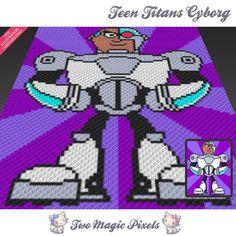 Teen Titans Cyborg crochet blanket pattern; knitting, cross stitch graph; pdf…