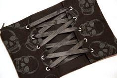 Black and Grey Skulls Corset Zipper Pouch / Makeup Cosmetic Bag by Pornoromantic