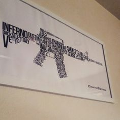 My nerd art in my house! Typography pic of all different counter-strike maps. The barrel of the gun is mine and my bf's gamer tags with a heart in between. Yeah, we're nerds. <3 twitch.tv/amorviolente