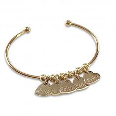 Bracelet Jonc OR Coeur personnalisé