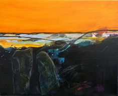 What lies beneath: Images evoked by the ancient landscapes of Wiltshire by Marie Allen. Mixed media on canvas.
