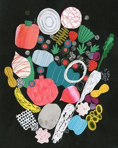 Elementos dibujados a lápiz, coloreados algunos, otros a negro, silueteados y agrupados en una bellísima ilustración. Garden - Hye Jin Chung