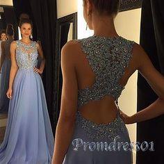 2016 cute blue chiffon long prom dress with lace top
