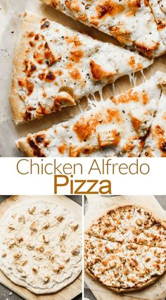 Chicken Alfredo Pizza Creamy homemade alfredo sauce topped with grilled chicken and mozzarella makes a perfect homemade Chicken Alfredo Pizza. This one is a MUST for pizza night! Homemade Chicken Alfredo, Chicken Alfredo Pizza, Pizza With Chicken, Chicken Alfredo Soup Recipe, Alfredo Sauce Recipe Easy, Kitchen Recipes, Cooking Recipes, Sauce Alfredo, Grilled Chicken