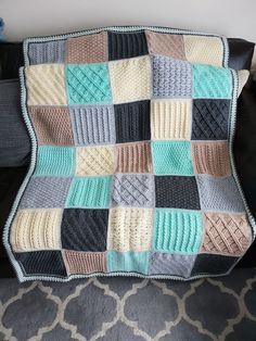 Ideas For Crochet Afghan Patterns Free Square Ravelry Crochet Edging Patterns, Afghan Crochet Patterns, Knitting Patterns Free, Free Pattern, Crochet Afghans, Crochet Baby, Knitting Squares, Crochet Squares Afghan, Granny Squares