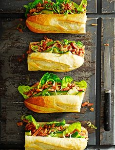 Asian flavours and pickled cucumber give this ham baguette a spicy kick. It's really easy to make in half an hour, so a perfect lunchtime treat or quick dinner recipe