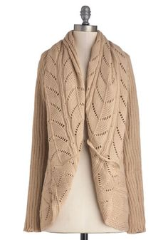 Great with your jeans for a casual cozy day in the market, or coffee shop or with your girl friends!  Purl Up With Me Cardigan in Beige, #ModCloth