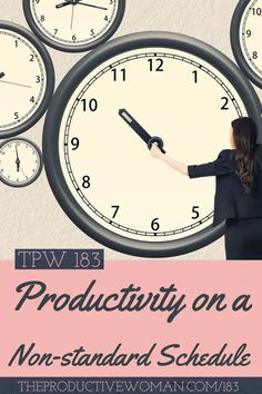 Episode 183 of The Productive Woman podcast looks at some of the challenges that arise when you (or someone else in your household) work a non-standard schedule. Find more at TheProductiveWoman.com/183.