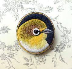 (via yellow . bird . brooch . handmade . felt . needle by cOnieco)